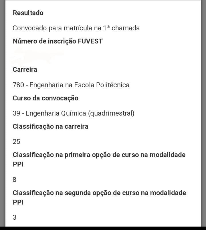 aprovação engenharia química usp Huamã Souza